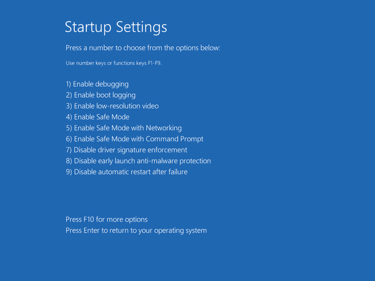 Screenshot of the Startup Settings menu in Windows 10