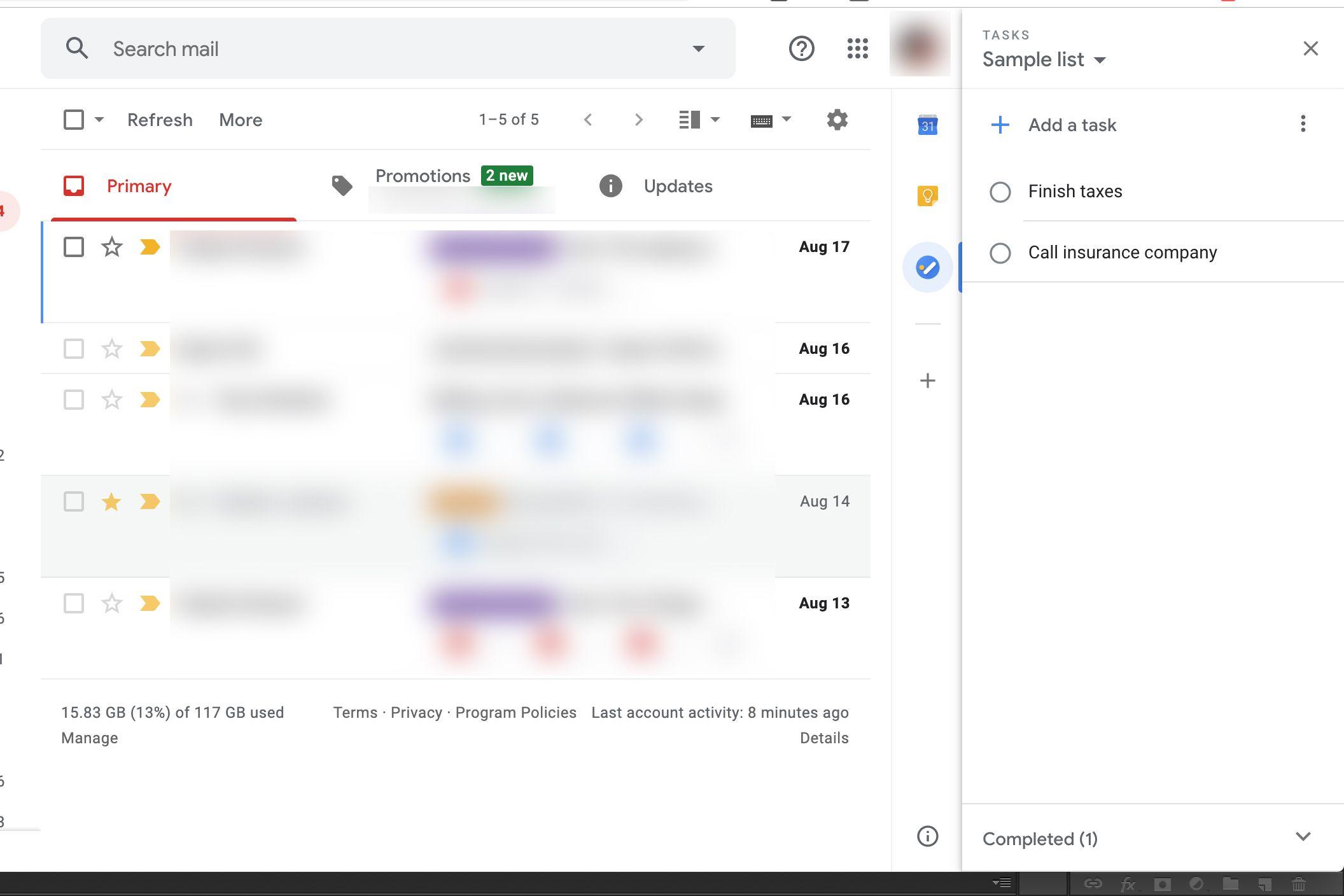 Google Tasks in Gmail