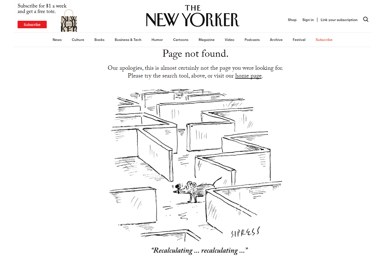 Screenshot of The New Yorker's Lost Rat 404 Error Page
