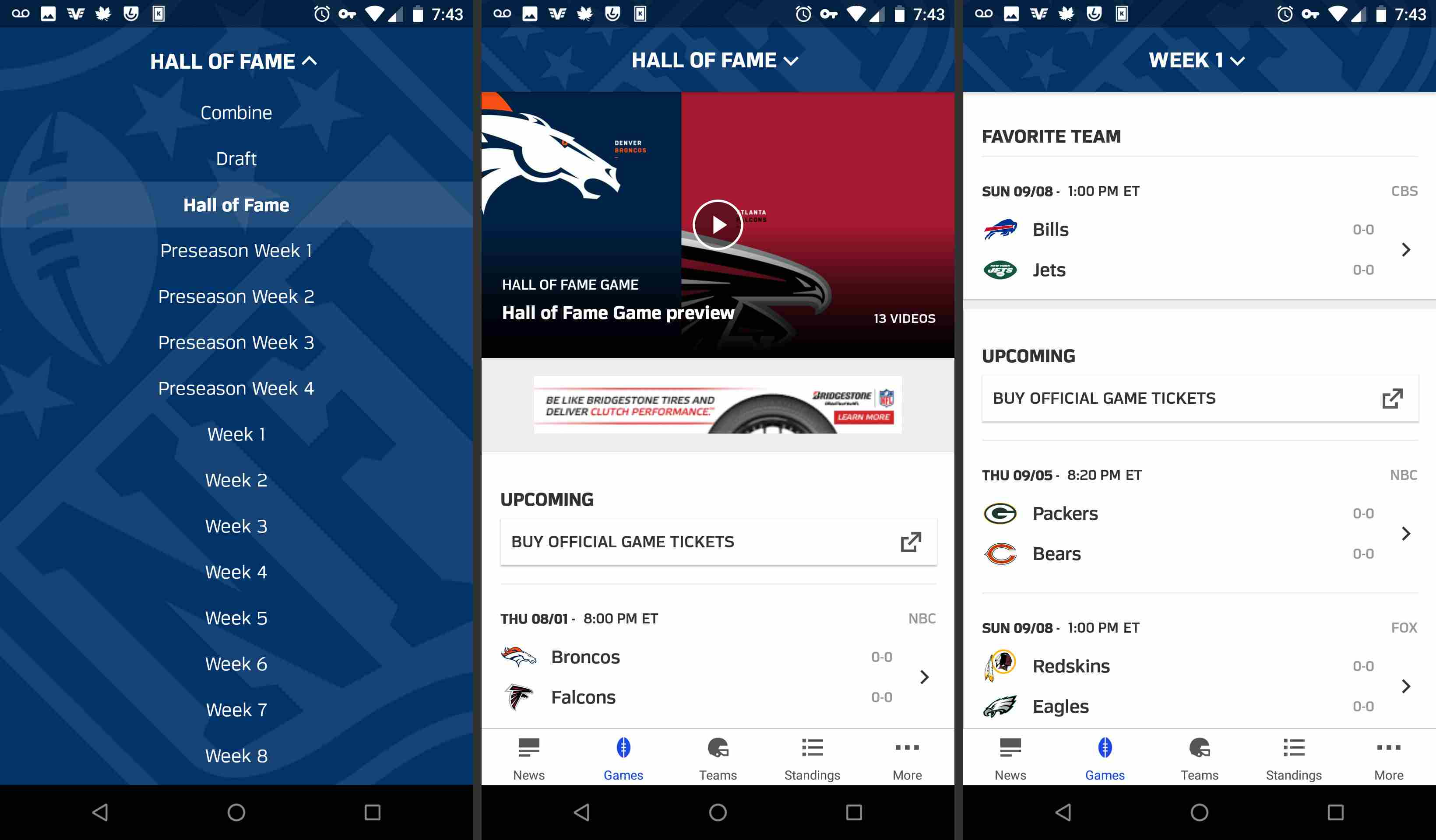 NFL mobile app games and schedule