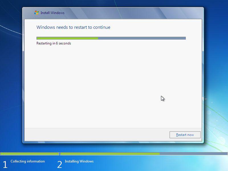 Windows 7 setup restarting the computer