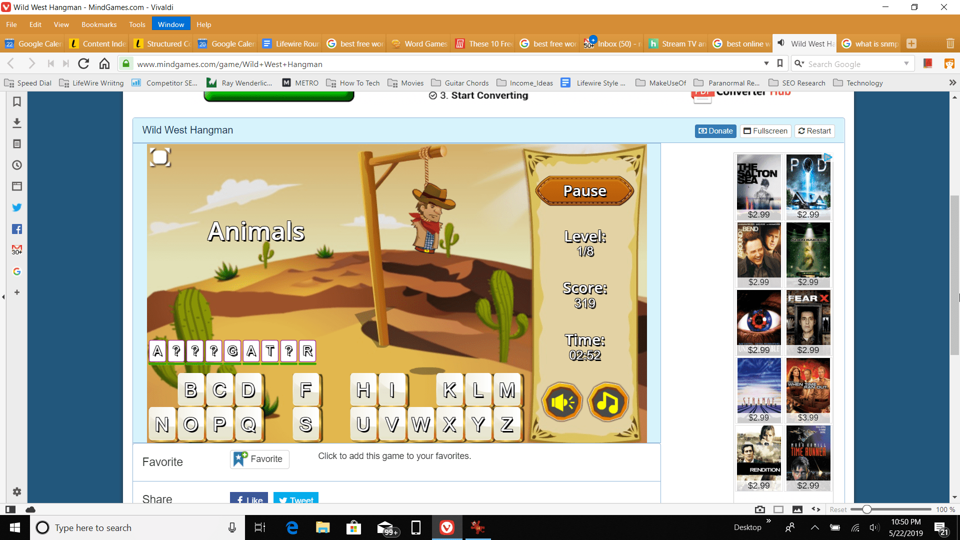 Screenshot of playing Wild West Hangman