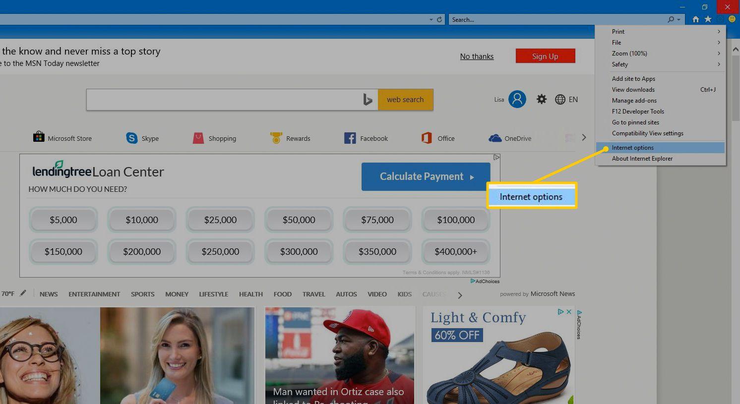 Internet options menu item in Internet Explorer