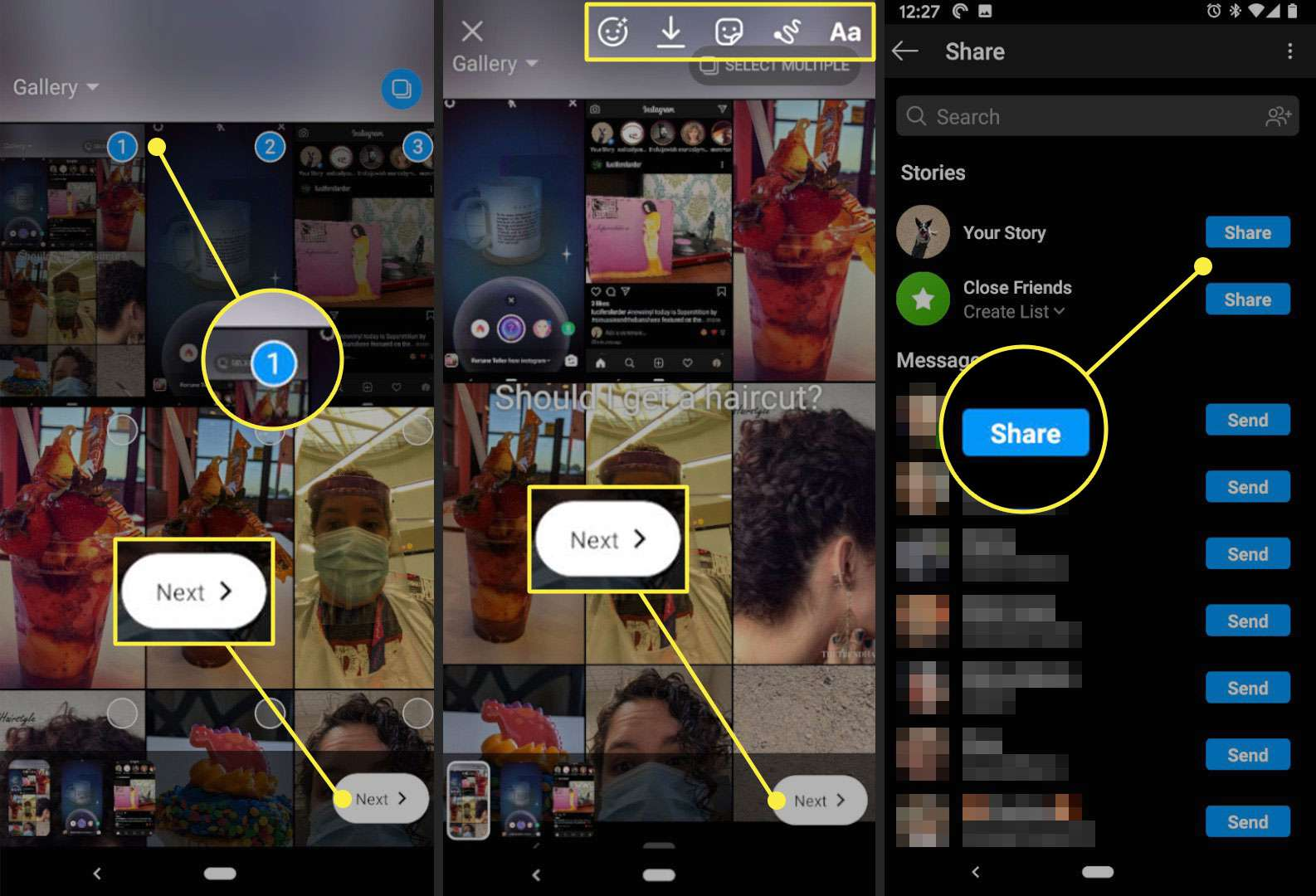 Adding and sharing multiple images to an Instagram story