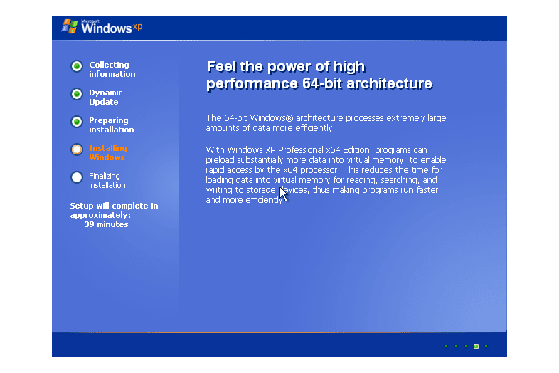 Screenshot of the main installation screen during the Windows XP setup