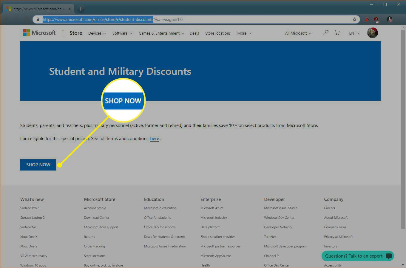 A screenshot of the Microsoft Student and Military Discounts site.