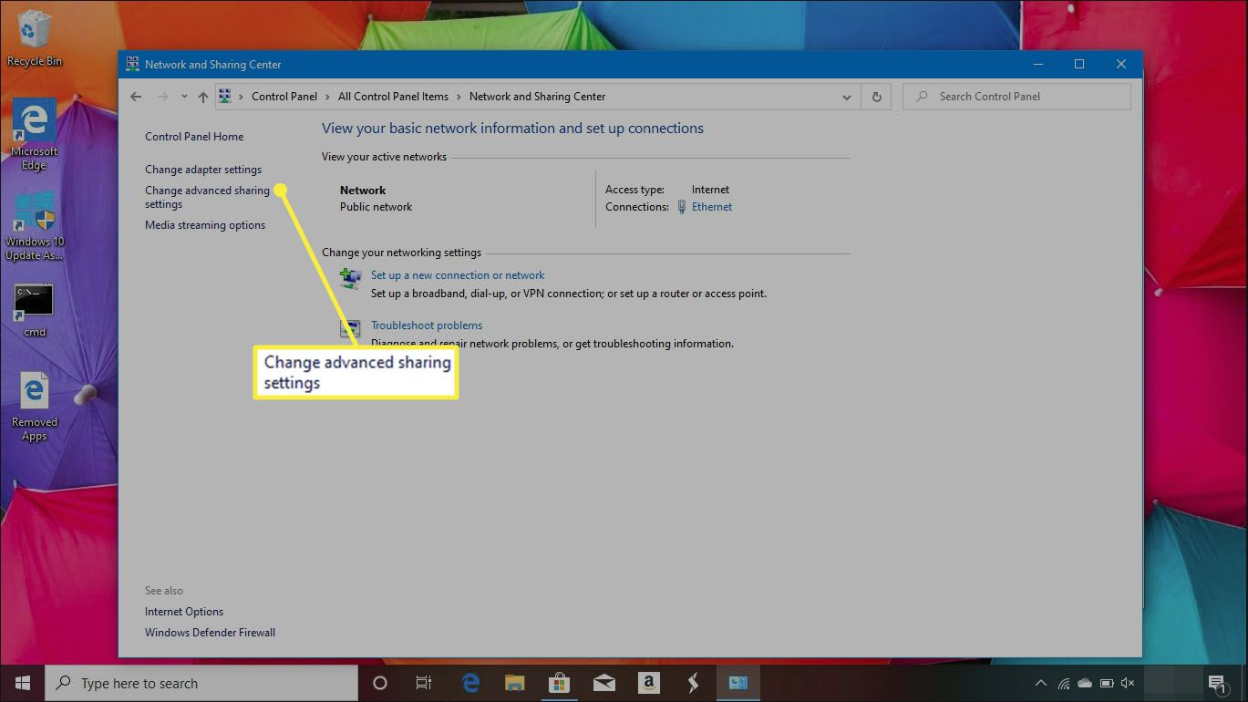 Network and Sharing Center in Windows 10 Control Panel