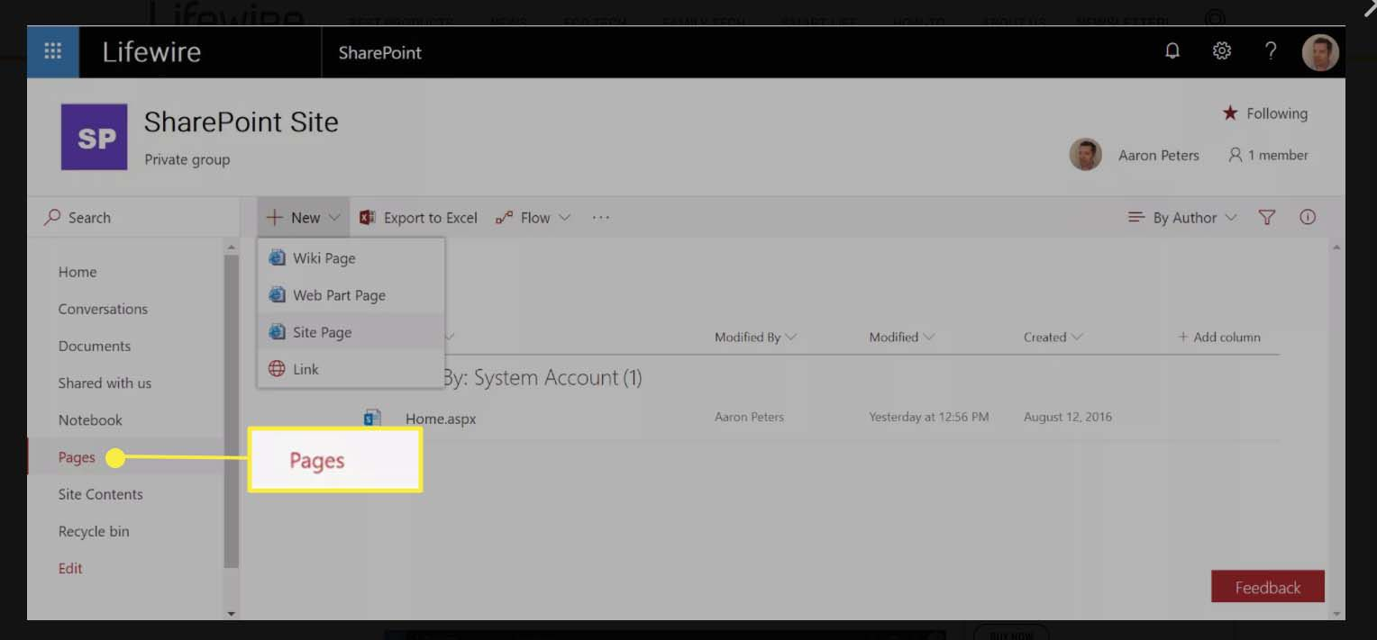 In SharePoint Site window, selecting