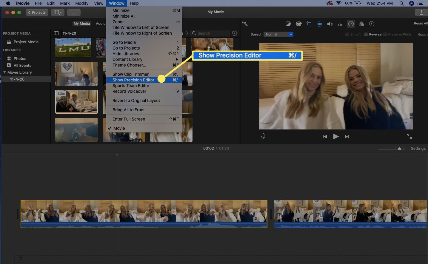 Access the iMovie Precision Editor from the Window menu.