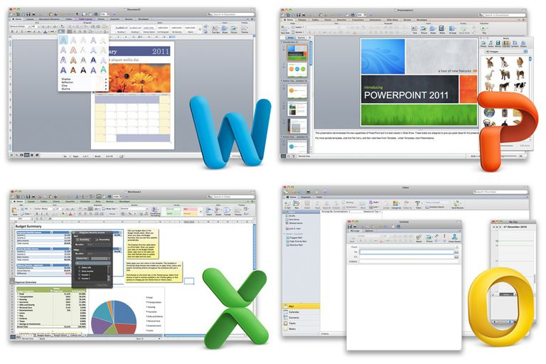 Microsoft Office 2010 for Mac suite screenshot