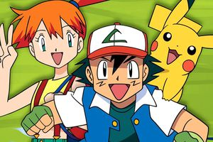 Misty, Ash, and Pikachi from the Pokemon anime series