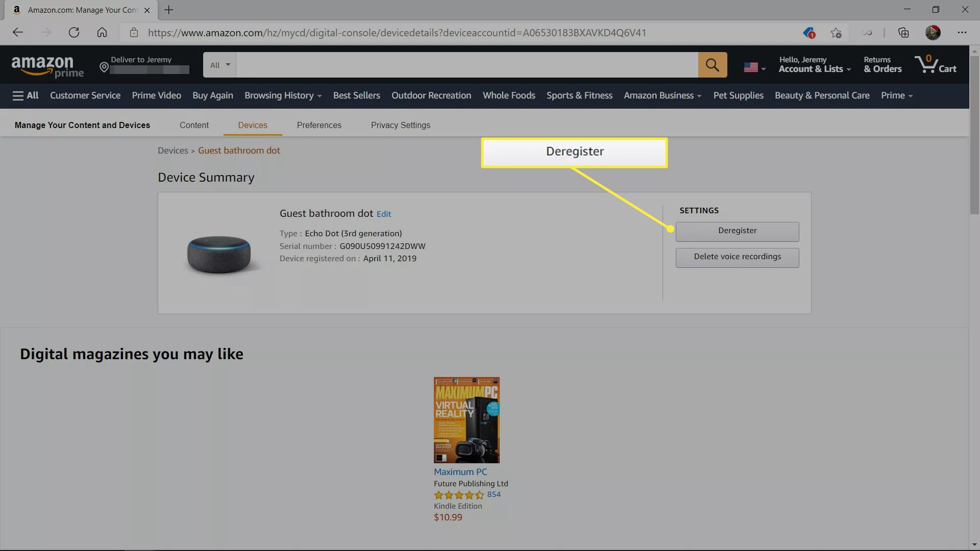 Deregister highlighted on an Amazon device management page.