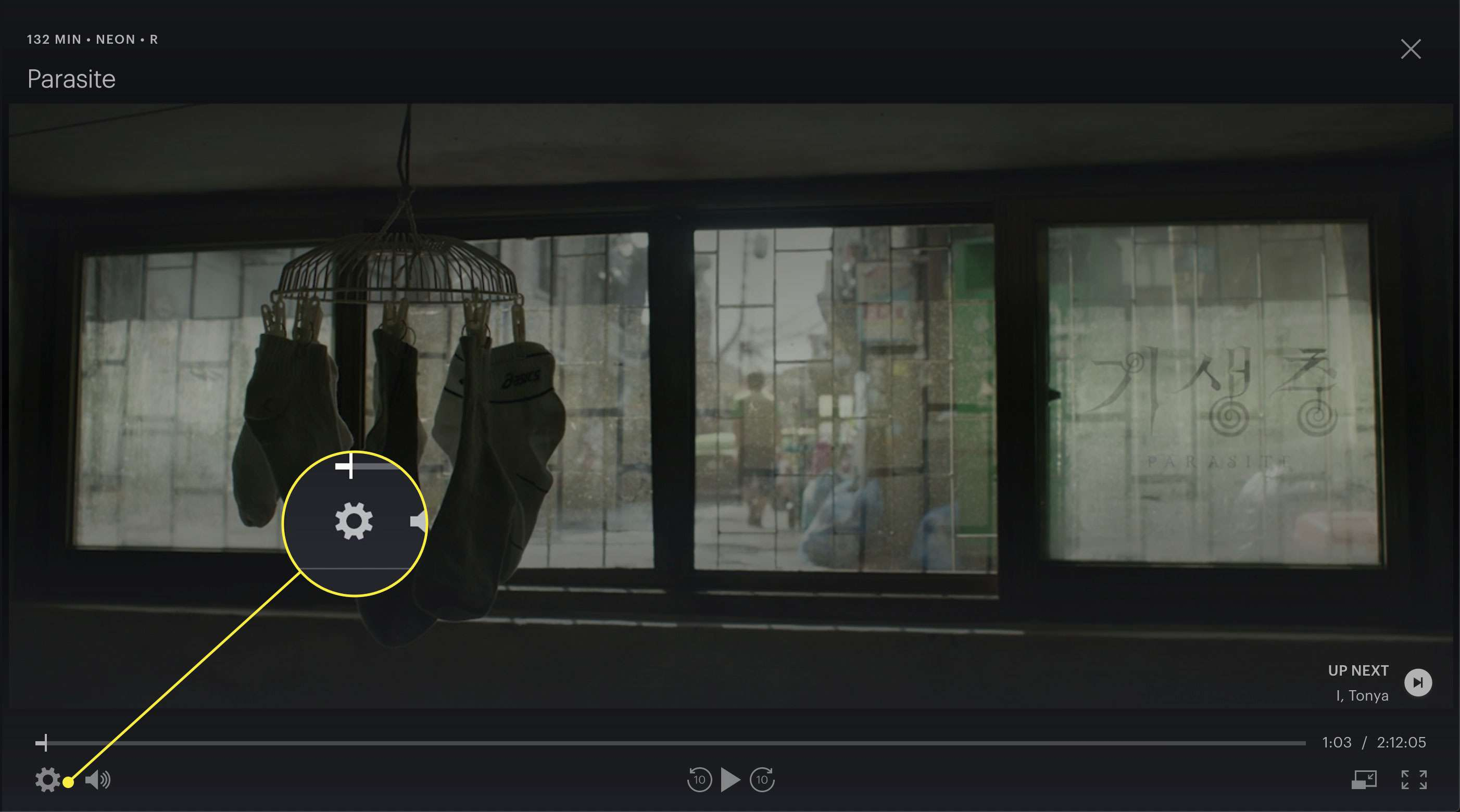 A screenshot of a movie playing on Hulu with the Settings gear highlighted