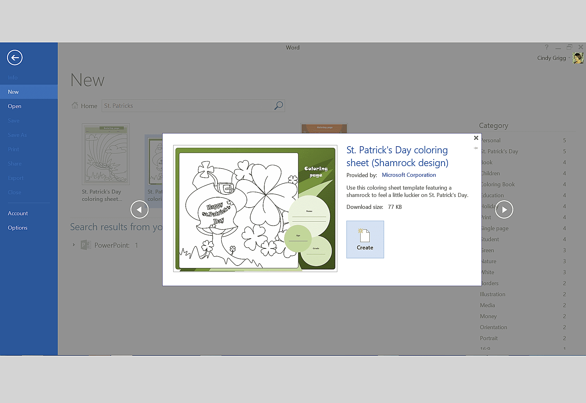 St. Patrick's Day Coloring Sheet Template for Microsoft Office
