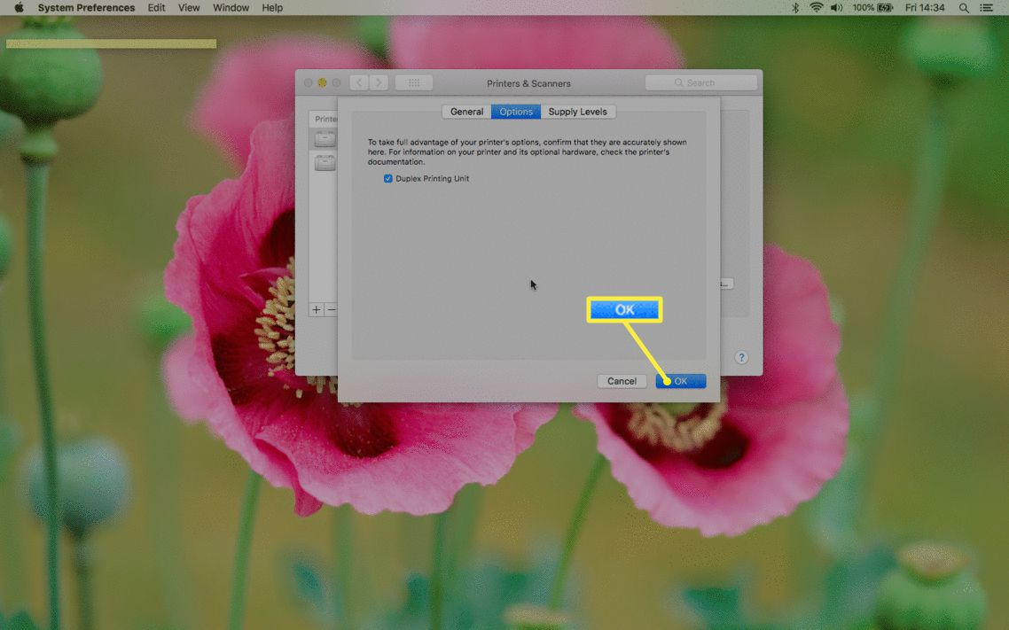 Mac Printers & Scanners preferences with OK highlighted