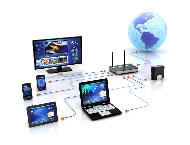 A laptop, tablet computer, desktop computer, wireless router, and two phones connected to the World Wide Web.