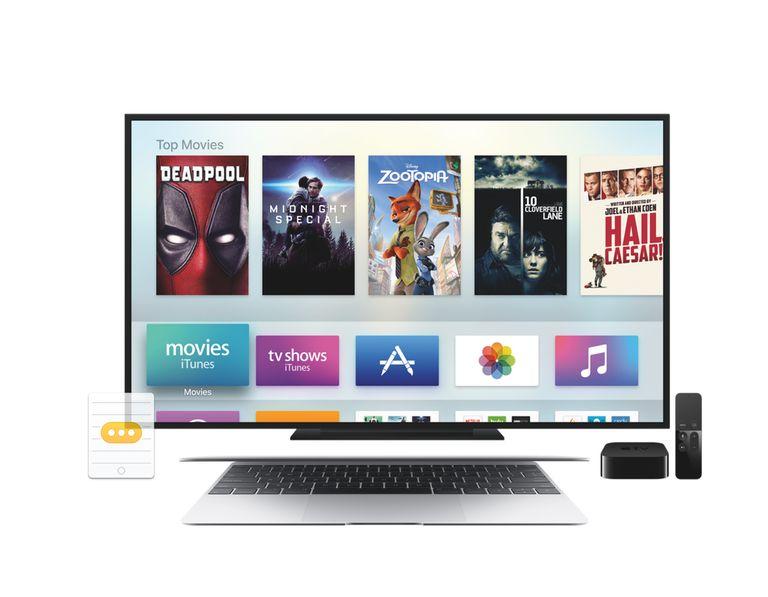 Apple TV, TV, and macbook