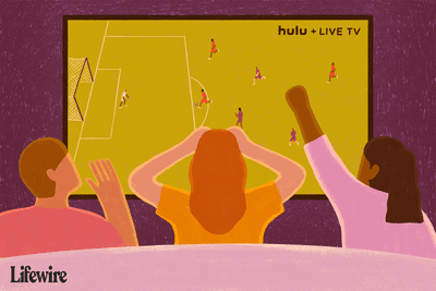 Three people watching a soccer game on Hulu + Live TV