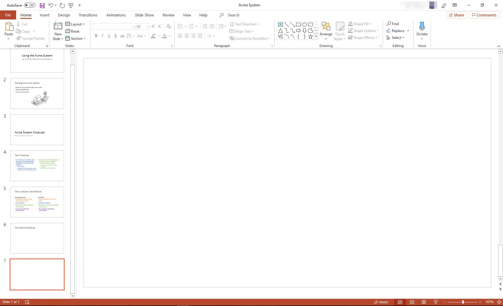 MS PowerPoint with Blank slide layout displayed
