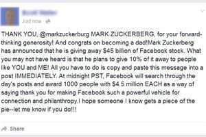 Fake Facebook message about Zuckerberg giving away Facebook stock