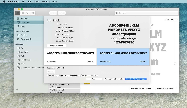 Duplicate font screen in Font Book on a Mac