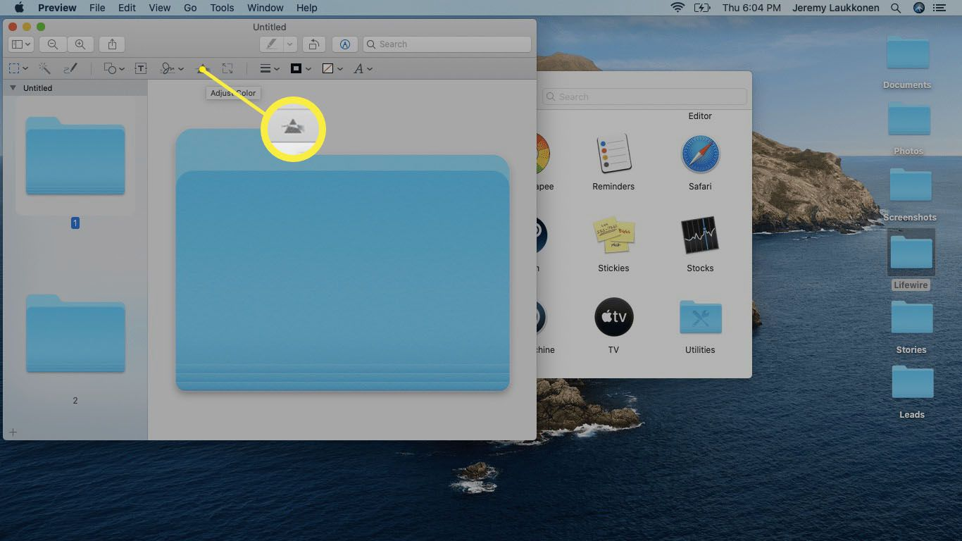 The Adjust color tool highlighted in the Preview app on macOS.