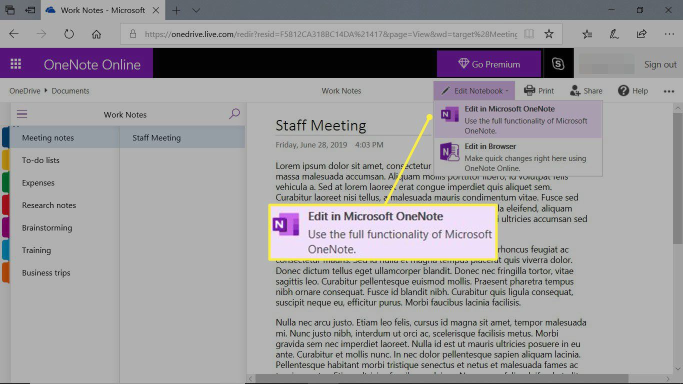 A notebook open in OneNote Online and showing how to open in the desktop app