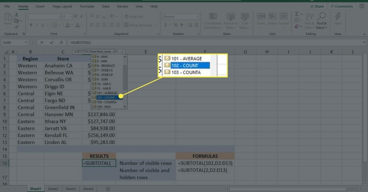 Use the COUNT function_num argument with the SUBTOTAL function