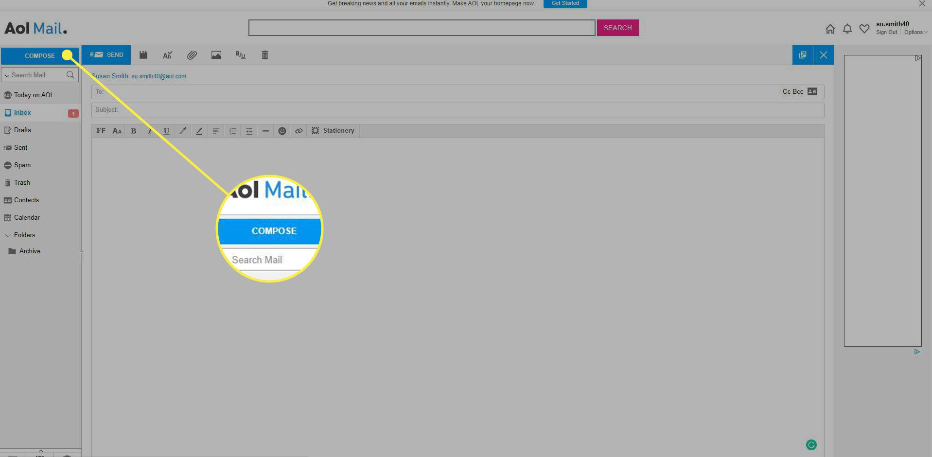 A screenshot of AOL Mail with the Compose button highlighted