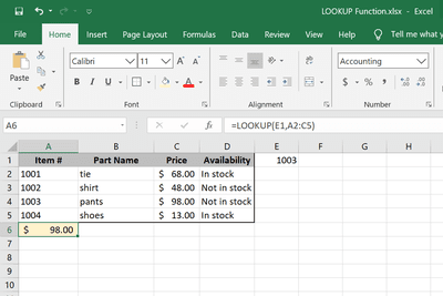 LOOKUP function Excel examples