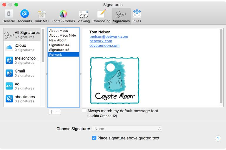 Add signatures to Apple Mail