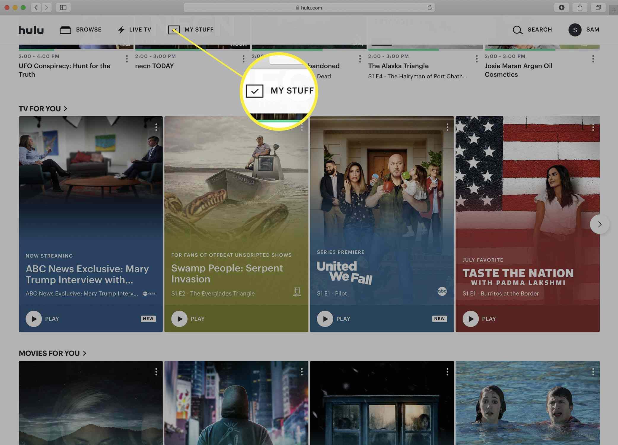 Screenshot of the Hulu homepage.