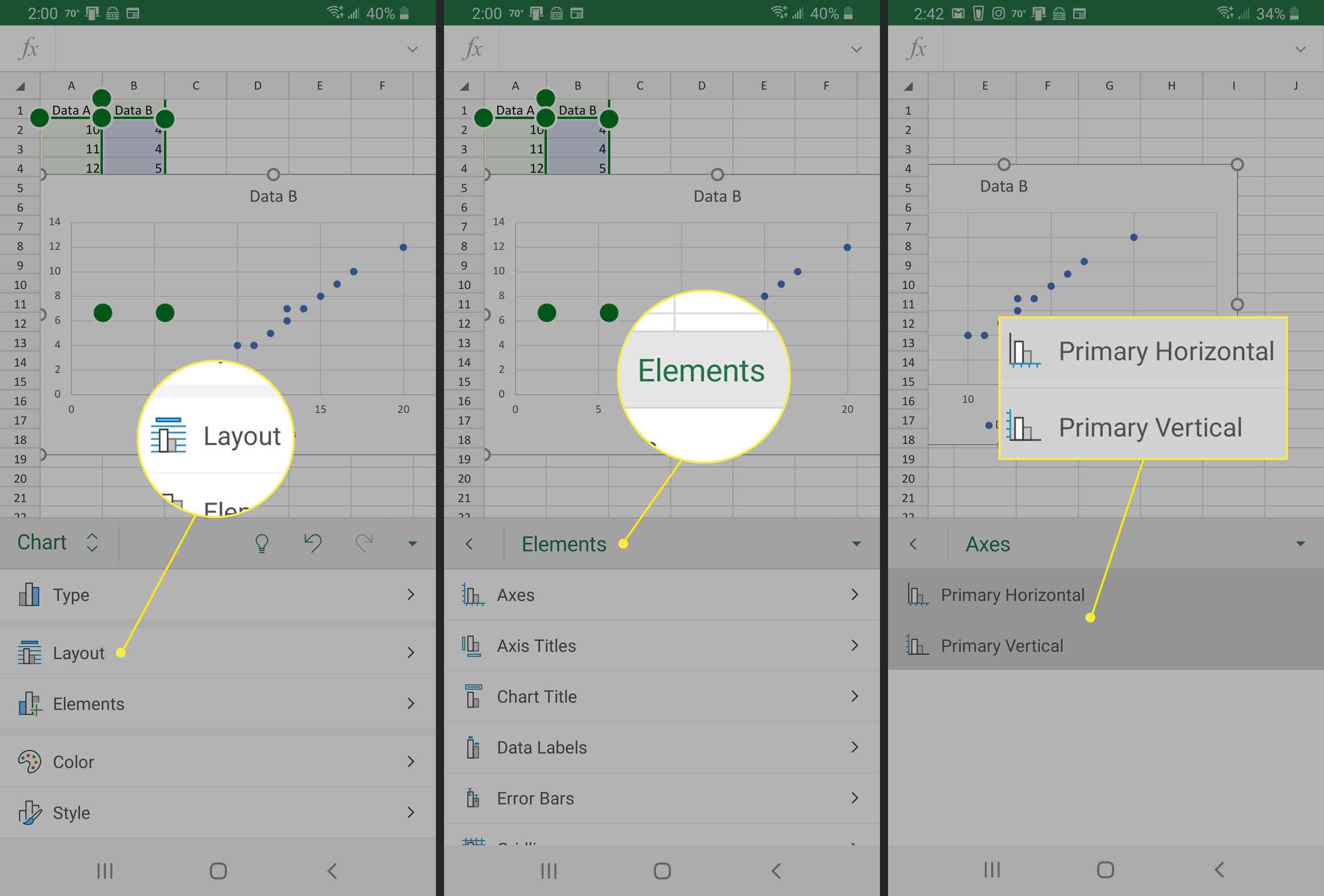 Excel on Android screenshots: (left) tap chart to select, (middle) Chart element edit options, (right) edit Axis Titles