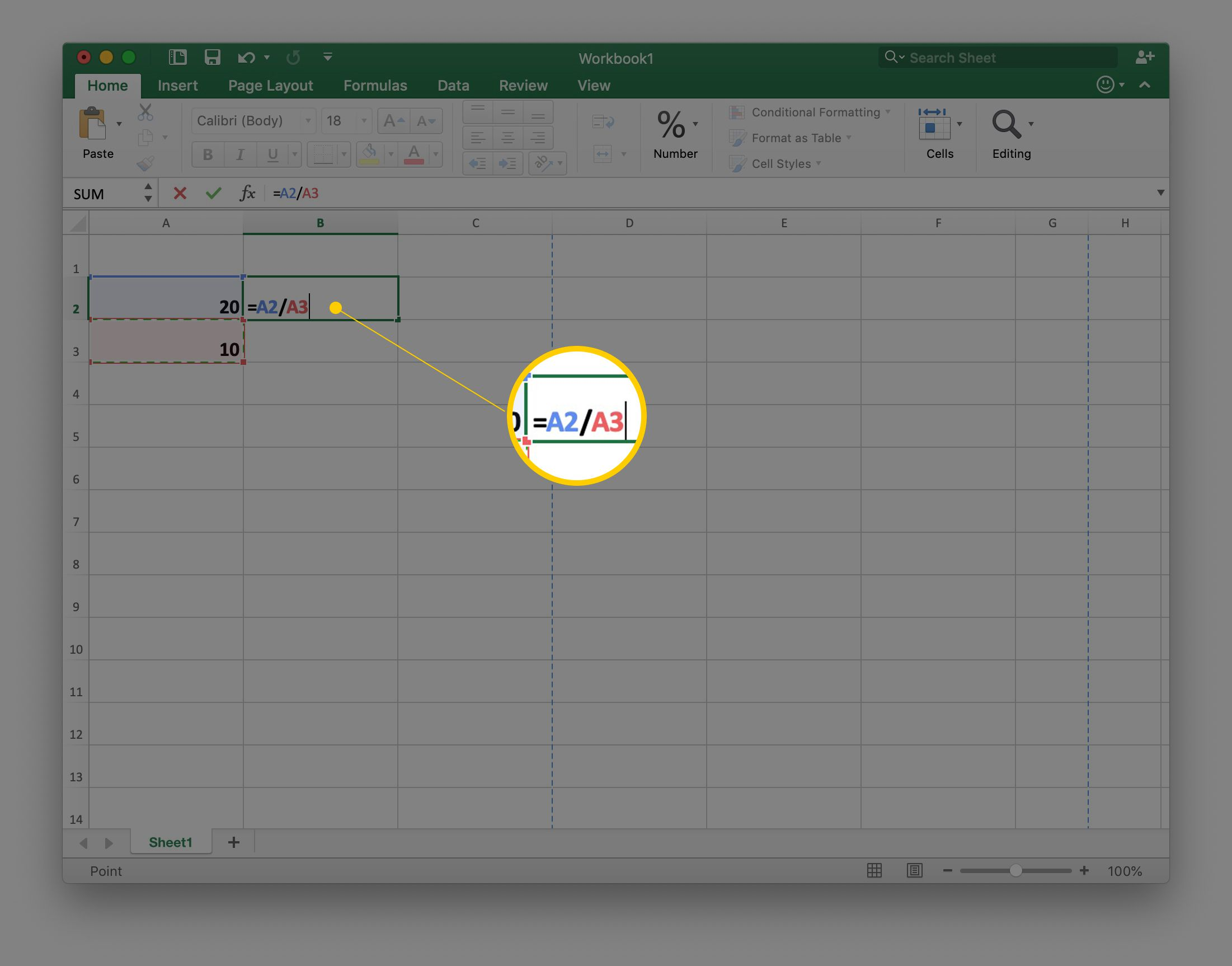 A2/A3 in cell B2 in Excel spreadsheet