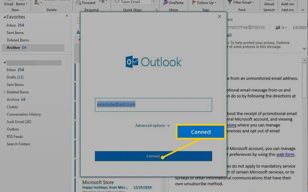 Connect button in Outlook