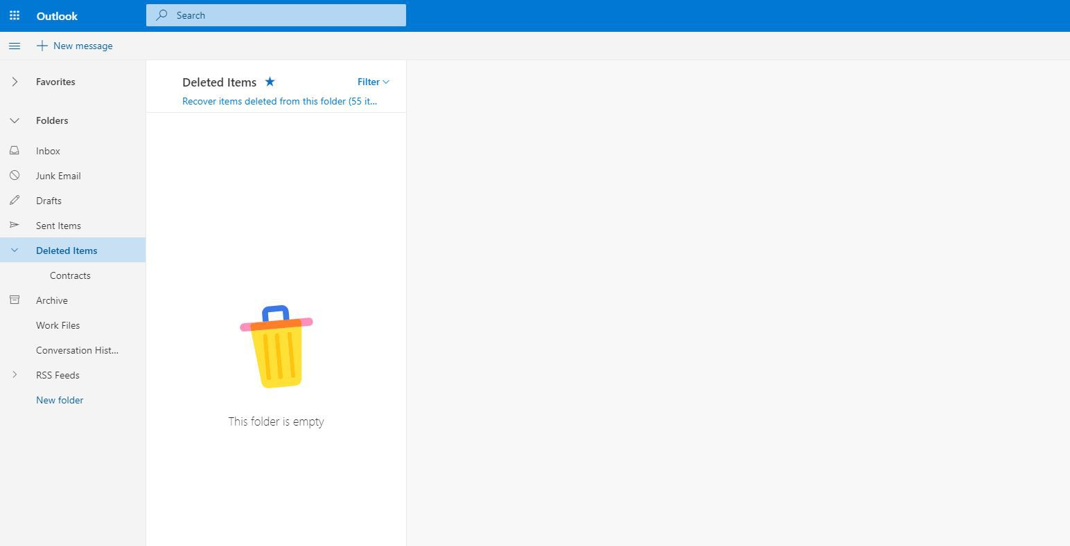 Deleted Items in Outlook.com