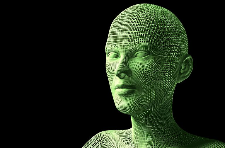 Green 3D model of a human face