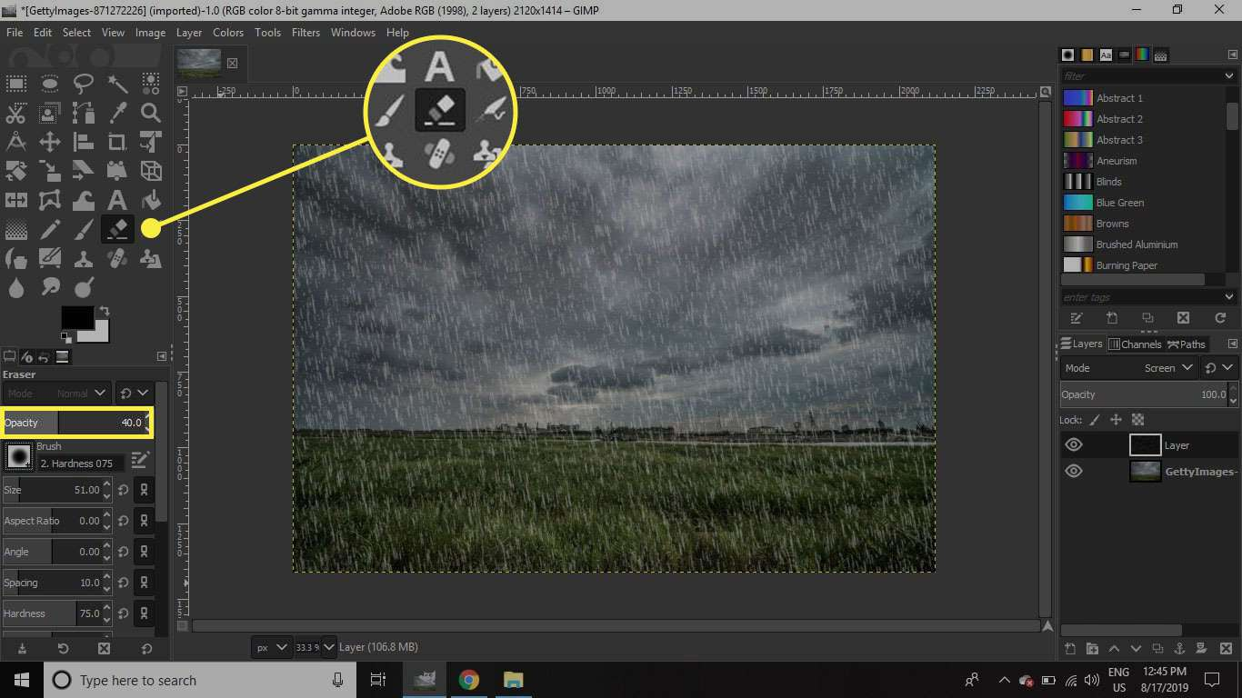 A screenshot of GIMP with the Eraser tool and its opacity slider highlighted