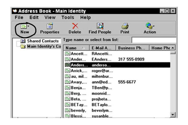 Windows XP address book