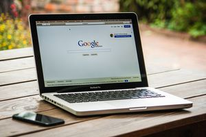 Google opened in a web browser on a laptop