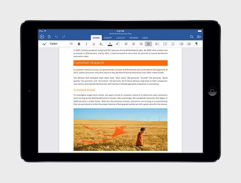 Microsoft Office for the iPad
