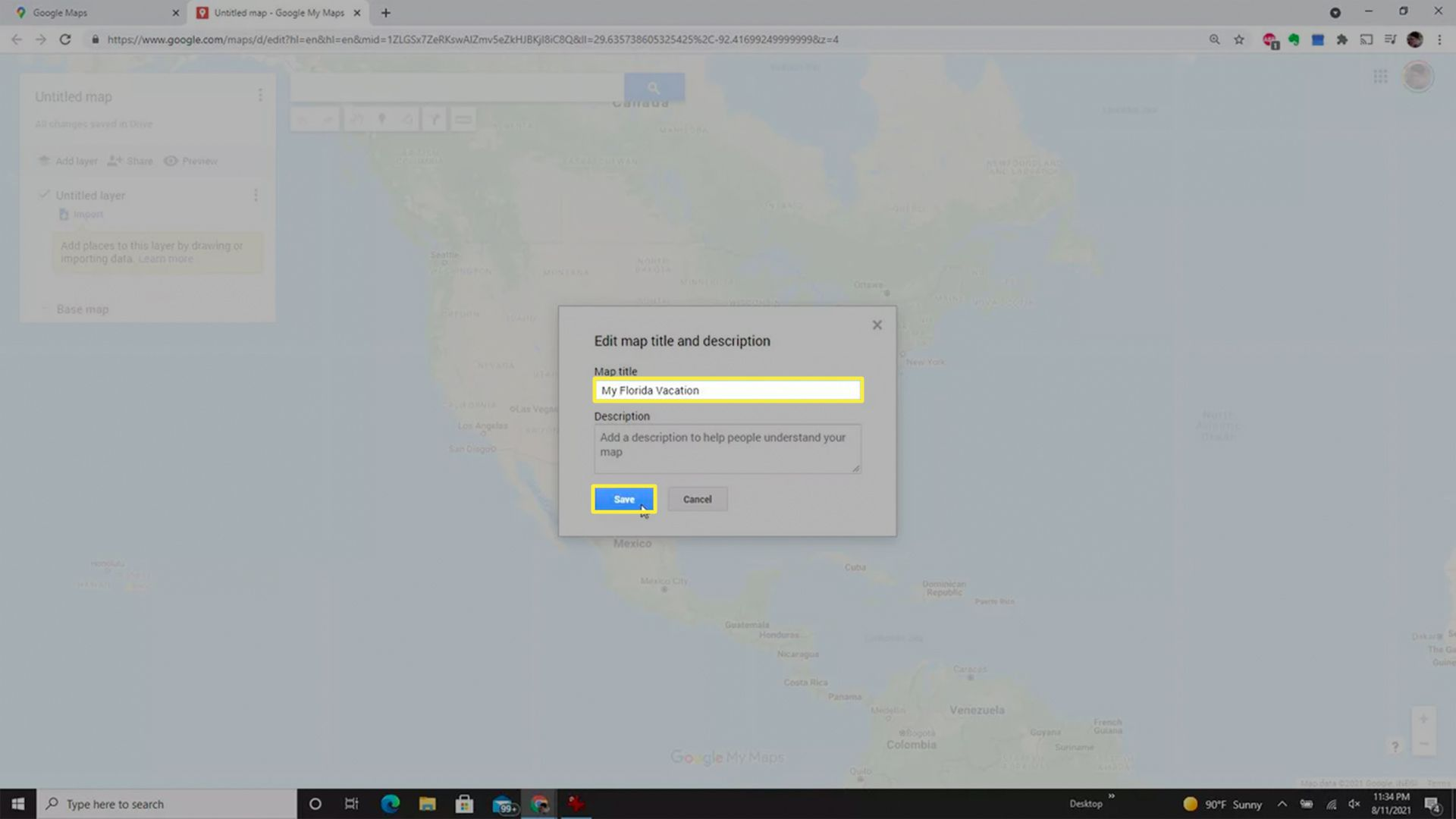 The edit name box when creating a custom map from Google Maps.