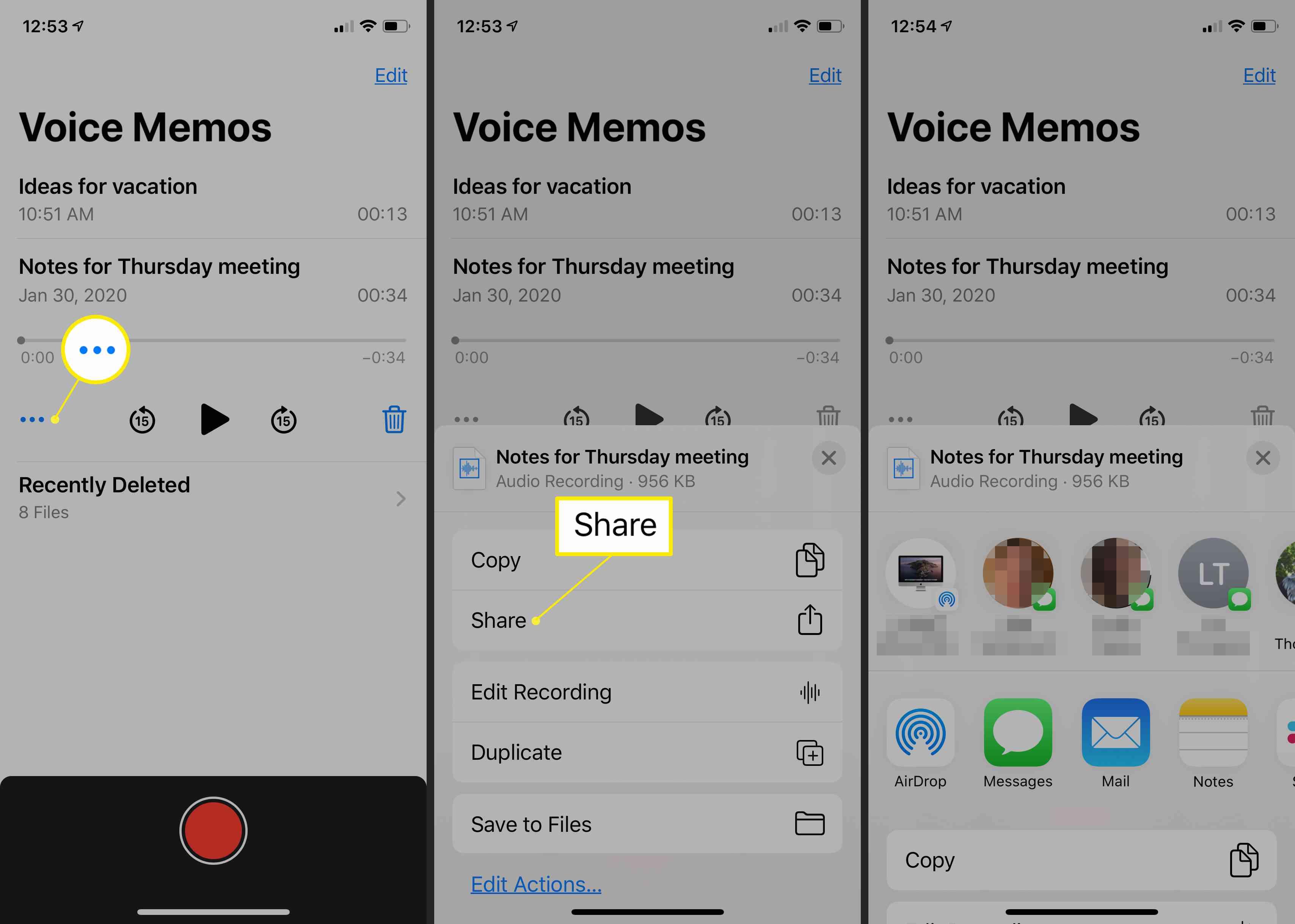 Voice Memos app sharing options