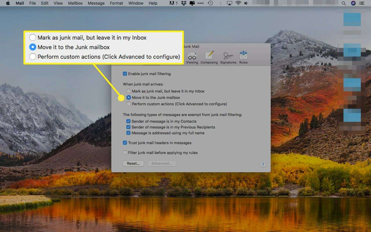 Apple Mail's Junk preferences with the filtering options highlighted