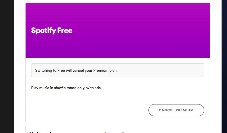 Spotify Free Cancel Premium page