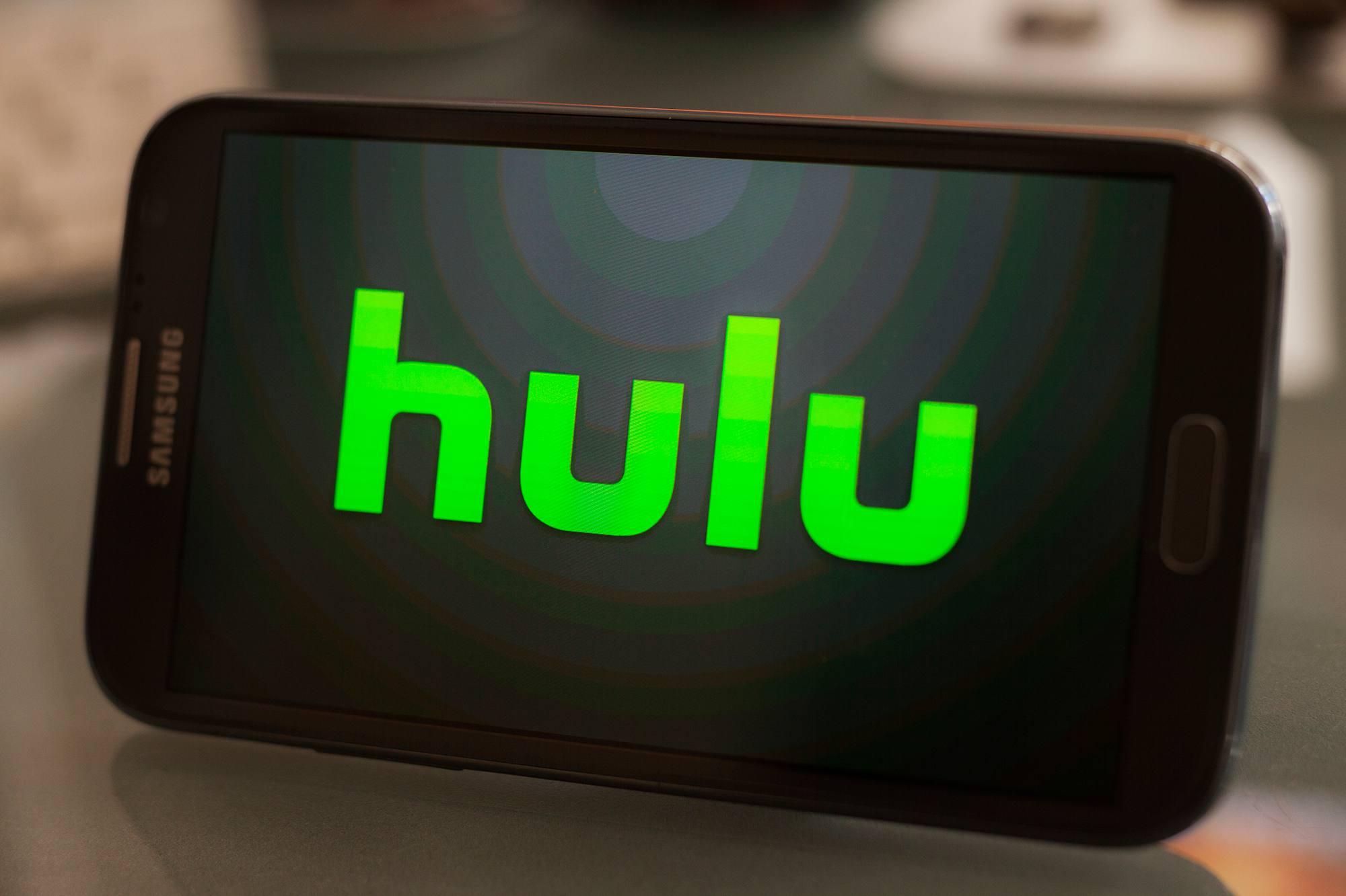 Hulu logo on Samsung mobile phone screen