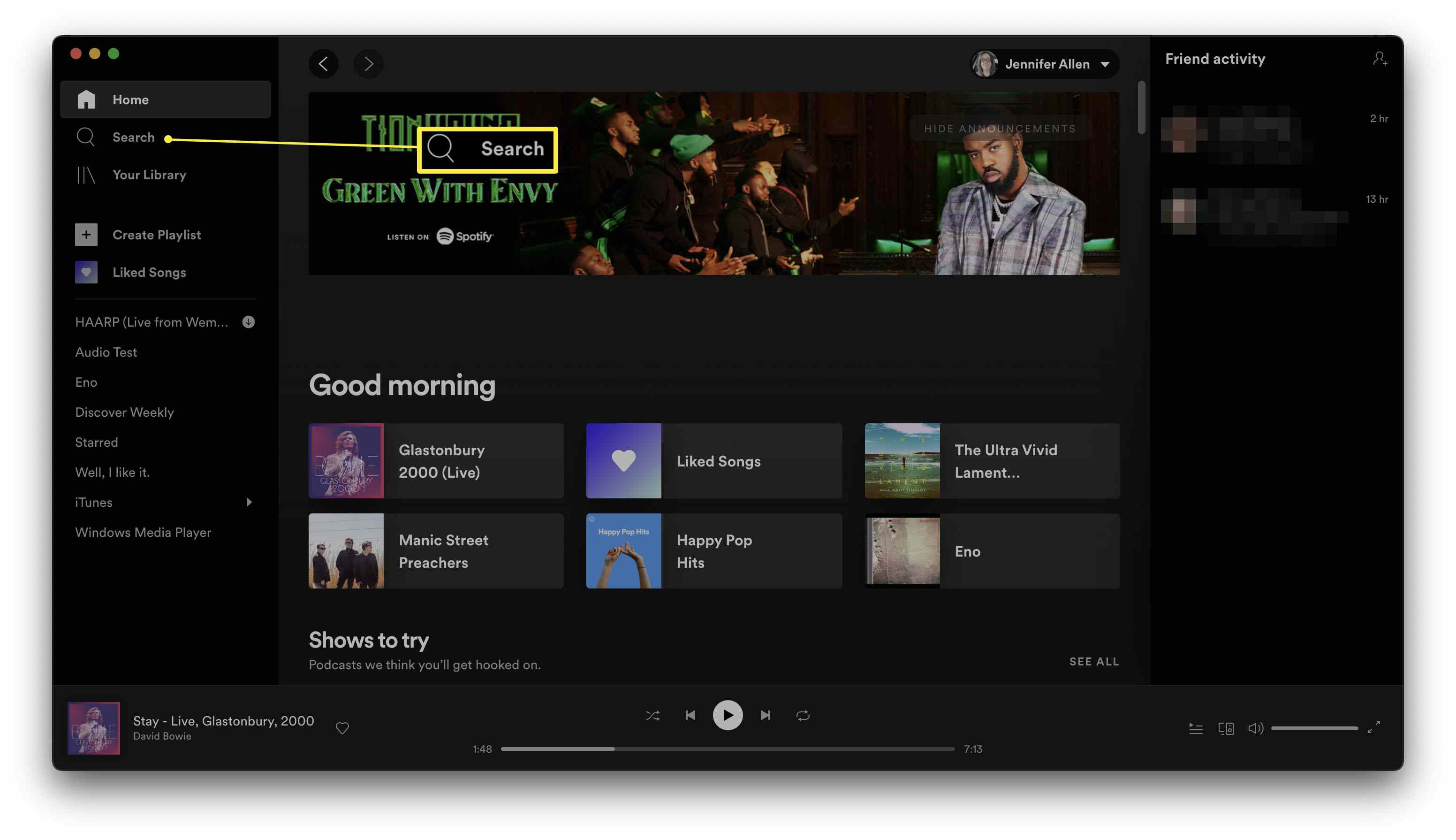 Spotify with the search bar highlighted