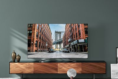 A Hisense 4K ULED television on a home television entertainment center