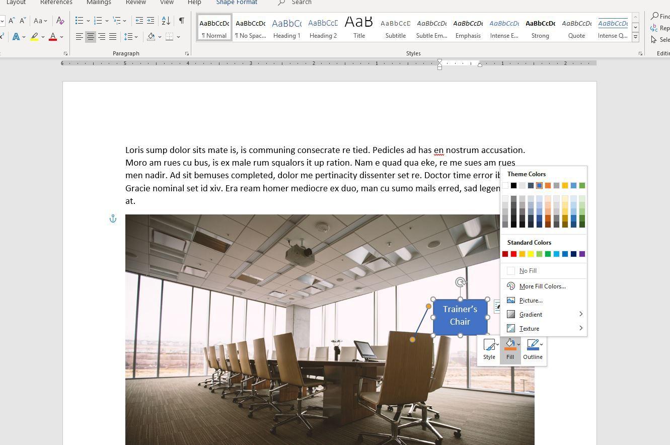 Screenshot of Fill Color options