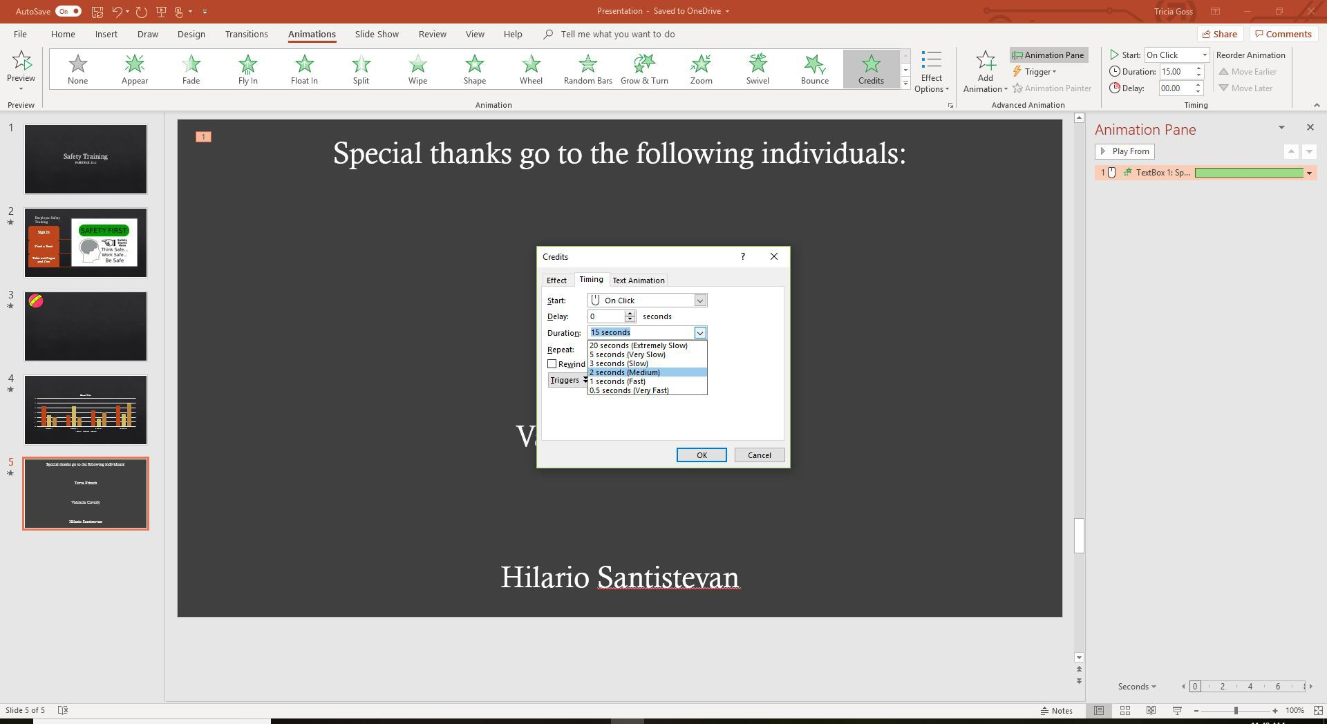 A screenshot of the PowerPoint Effect Timing dialog box.
